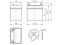Abmessungen wartungsfreie Bleisäure Batterie 12 V / 4,5 Ah