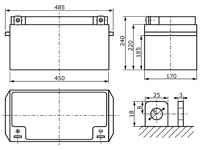 Abmessungen wartungsfreie Bleisäure Batterie 12 V / 150 Ah