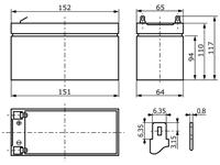 Abmessungen wartungsfreie Bleisäure Batterie 12 V / 10 Ah