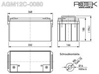 Abmessungen wartungsfreie Bleisäure Batterie 12 V / 80 Ah