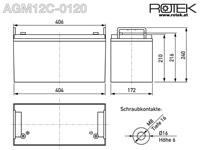 Abmessungen wartungsfreie Bleisäure Batterie 12 V / 120 Ah