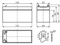 Abmessungen wartungsfreie Bleisäure Batterie 12 V / 9 Ah