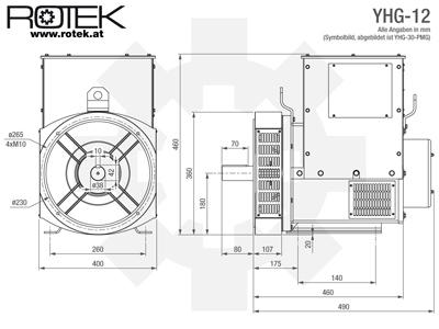 Rotek YHG12 - Masszeichnung