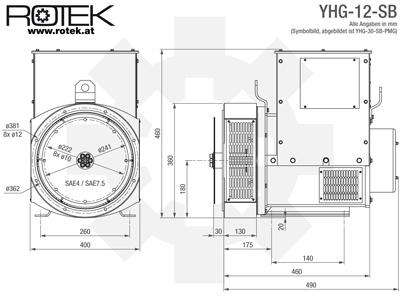 Rotek YHG12SB - Masszeichnung