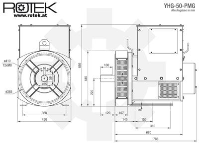 YHG-50-PMG Abmessungen