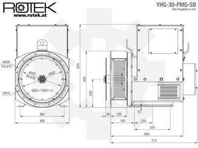 YHG-30-PMG-SB Abmessungen
