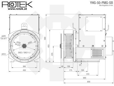 YHG-50-PMG-SB Abmessungen