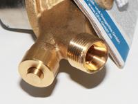 Gasregler mit Schlauchbruchsicherung, Schlauchanschluss