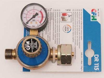 Gasregler, stufenlos regulierbar, mit Manometer 1-4Bar bis 10kh/h