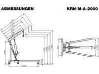 Abmessungen Werkstattkran (Motorkran) mit 2 Tonnen Kapazität, KRN-M-A-2000-1500