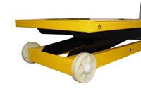 Hubtisch mit 1000 kg Kapazität und 1400 mm Tischhöhe,SHTM-A-1000-370-1400-PU, Detail Rollen