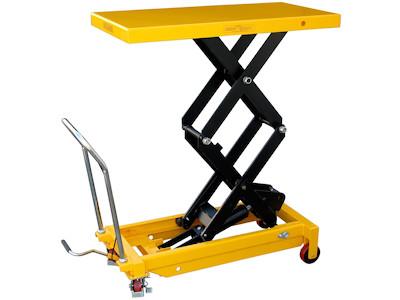 Hubtisch mit 700 kg Kapazität und 1500 mm Tischhöhe, SHTM-A-0700-445-1500-PU, Schräg Tisch ganz oben