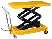 Hubtisch mit 800 kg Kapazität und 1500 mm Tischhöhe, SHTM-A-0800-445-1500-PU, Schräg Tisch halb oben