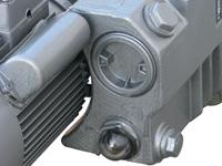 Vakuumpumpe mit 0,9 kW Leistung, PM-VP-20, Schauglas, Ölein- und Ölauslass Detail