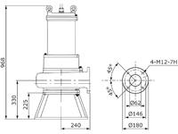 Bemassung Tauchpumpe 7,5 kW mit Schredder