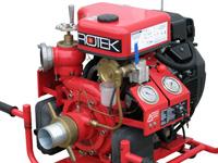 Tragkraftspritze mit Ansaugpumpe und 2-Zyl. Benzinmotor, WPG4-2V-1800-65-EB, Frontansicht Detail