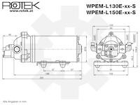 Membranpumpe mit 12V DC Elektromotor und einer max. Fördermenge von 1,7l/min, WPEM-12V-01.7L-090M-EPDM-PS-DP130B-TP