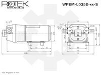 Membranpumpe mit 12V DC Elektromotor und einer max. Fördermenge von 9,5l/min, WPEM-24V-09.5L-024M-EPDM-PS-DP35-TP