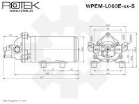 Membranpumpe mit 24V DC Elektromotor und einer max. Fördermenge von 5,0l/min, WPEM-24V-05L-042M-EPDM-PS-DP60-TP