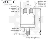 Abmessungen kombinierter Öldrucksensor NPT1/4