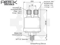 Abmessungen kombinierter Öldrucksensor NPT3/8