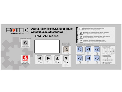 Panel Sticker / Frontplatten Aufkleber für Rotek VC-400/VC-600/VC-6002 Vakuumierer Serie
