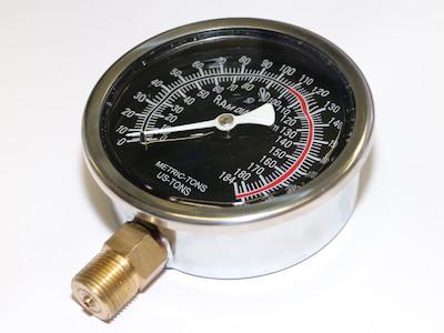 100T (bis 1100 Bar) Manometer, anzeige in metrischen und US-Tonnen, für Werkstattpressen und andere Hydraulische Geräte mit 150mm Kolbendurchmesser